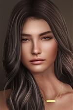 Beautiful fantasy girl, face, brown hair
