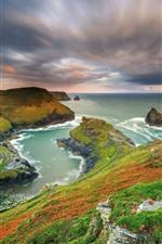 Bela natureza paisagem, montanhas, mar, costa, cores