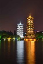 Beautiful park at night, tower, lights, lake