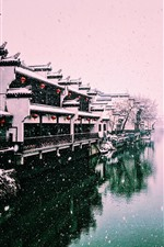 Preview iPhone wallpaper Beautiful winter, snowy, river, houses, lantern, Nanjing, China