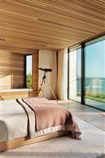 Preview iPhone wallpaper Bedroom, window, sea, villa