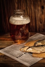 Preview iPhone wallpaper Beer, dry fish, cigarette, match
