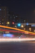 Pequim, cidade à noite, estrada, luzes, zhongguancun