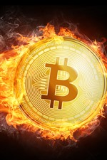 Preview iPhone wallpaper Bitcoin, flame, fire, creative