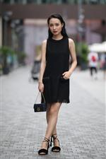 iPhone fondos de pantalla Falda negra Niña china, calle