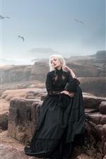 Preview iPhone wallpaper Black skirt blonde girl, fog, sea, rocks, birds