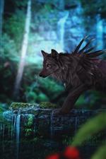 Black wolf, waterfall, fantasy art