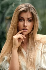 Preview iPhone wallpaper Blonde girl, hairstyle, pose, portrait