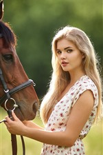 Preview iPhone wallpaper Blonde girl, long hair, brown horse, summer