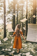 Preview iPhone wallpaper Blonde girl, magic, paper flying, forest, creative picture