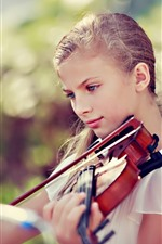 Preview iPhone wallpaper Blonde girl play violin, blue eyes