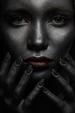 Blue eyes girl, darkness, many hands, horror