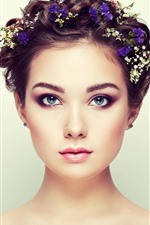 Preview iPhone wallpaper Blue eyes girl, fashion, hair style