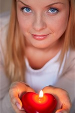 Preview iPhone wallpaper Blue eyes girl, hands, love heart candle, flame