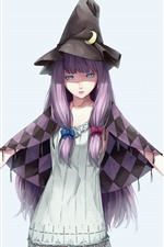 Preview iPhone wallpaper Blue eyes girl, purple hair, witch, anime