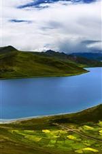Preview iPhone wallpaper Blue river, hills, fields, clouds, beautiful nature landscape