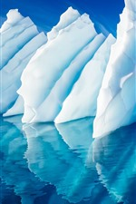 Preview iPhone wallpaper Blue sea, ice, glaic, water reflection