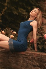 Preview iPhone wallpaper Blue skirt girl, blonde, flowers