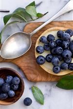 Preview iPhone wallpaper Blueberries, pie, spoon, foliga