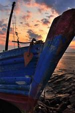Boat, rocks, sea, sunset