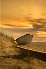 Preview iPhone wallpaper Boat, sands, beach, sea, sunset