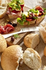 Preview iPhone wallpaper Bread, jam, tomatoes, meat