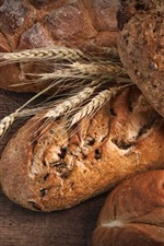 Preview iPhone wallpaper Bread, wheat, food, wood board