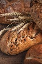 Bread, wheat, food, wood board