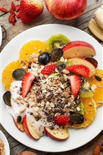 Preview iPhone wallpaper Breakfast, muesli, coffee, banana, apple, orange, nuts