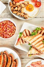 Preview iPhone wallpaper Breakfast, sausage, sandwich, bacon, food