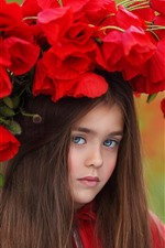 Preview iPhone wallpaper Brown hair little girl, red poppies, wreath