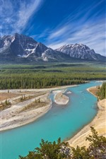 Preview iPhone wallpaper Canada, Alberta, Jasper National Park, Athabasca River, forest, mountains