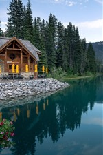 Canada, Emerald Lake, trees, mountains, house