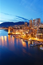 Preview iPhone wallpaper Canada, Vancouver, city, yachts, boats, river, night, lights