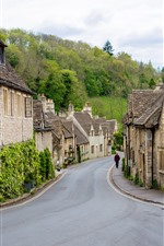 Preview iPhone wallpaper Castle Combe Village, England, houses, road