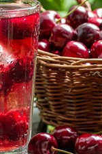 Preview iPhone wallpaper Cherry, juice, basket, glass cup