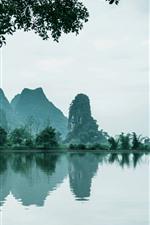China, beautiful nature landscape, lake, mountains, trees