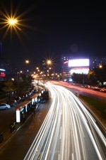 Preview iPhone wallpaper China, city night, road, light lines, cars