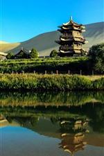 Vorschau des iPhone Hintergrundbilder China, Touristenattraktionen, Park, Pagoden, See, Wüste