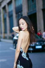 Preview iPhone wallpaper Chinese girl, back view, street, city