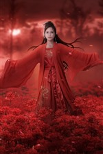 Chinese girl, retro style, red dress, red flowers