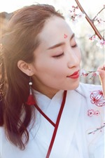 Preview iPhone wallpaper Chinese girl, retro style, spring, pink flowers