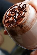 iPhone fondos de pantalla Café con chocolate, bebidas, taza de vidrio