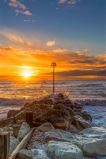 Preview iPhone wallpaper Christchurch, England, stones, sea, sunrise, morning