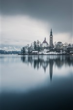Igreja, sangrou, Eslovénia, lago, árvores, neve, inverno