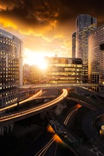 iPhone fondos de pantalla Ciudad, edificios, puente, camino, puesta de sol, París, Francia