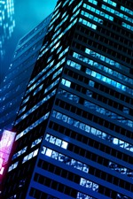 Preview iPhone wallpaper City buildings, night, lights, art picture