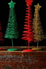 Preview iPhone wallpaper Colorful Christmas trees, toy