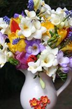 Colorful flowers, bouquet, vase