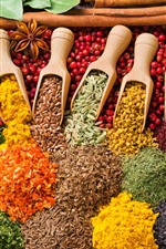 Preview iPhone wallpaper Colorful grains, mustard, curry, spices
